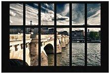 Matt Fototapete Fenster Brücke Paris 2,55 m x 384