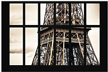 Matt Fototapete Fenster Eiffelturm Paris 1,9 m x