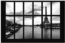 Matt Fototapete Fenster Eiffelturm Seine Paris