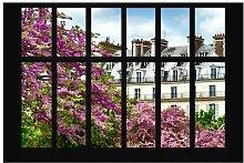 Matt Fototapete Fenster Frühling Paris 1,9 m x