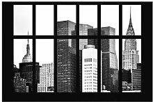 Matt Fototapete Fenster Manhattan Wolkenkratzer
