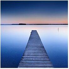 Matt Fototapete Flußsteg bei Sonnenuntergang 1,92