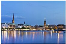Matt Fototapete Hamburg Skyline 1,9 m x 288 cm
