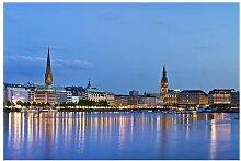 Matt Fototapete Hamburg Skyline 2,55 m x 384 cm