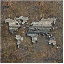Matt Fototapete Holz Rost Weltkarte 2,4 m x 240 cm