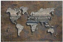 Matt Fototapete Holz Rost Weltkarte 3,2 m x 480 cm