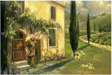 Matt Fototapete Italienische Landschaft - Zypresse