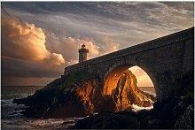Matt Fototapete Leuchtturm an der Brücke 2,25 m x