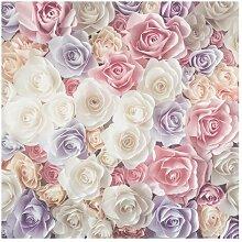 Matt Fototapete Pastell Paper Art Rosen 1,92 m x