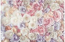 Matt Fototapete Pastell Paper Art Rosen 2,55 m x