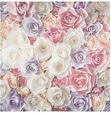 Matt Fototapete Pastell Paper Art Rosen 2,88 m x