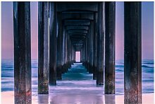 Matt Fototapete Pier im Sonnenuntergang 1,9 m x