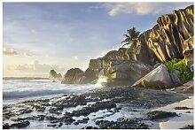 Matt Fototapete Sonnenuntergang im Inselparadies