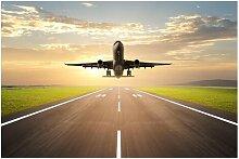 Matt Fototapete Startendes Flugzeug 1,9 m x 288 cm
