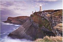 Matt Fototapete Steilküste und Leuchtturm 1,9 m x
