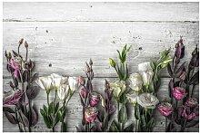 Matt Fototapete Tulpen-Rose Shabby Holzoptik 2,9 m