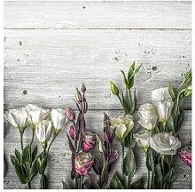 Matt Fototapete Tulpen-Rose Shabby Holzoptik 3,36