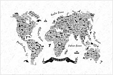 Matt Fototapete Typografie Weltkarte Weiß 2,55 m