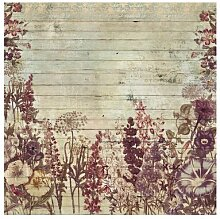 Matt Fototapete Vintage Blumen Holzoptik 1,92 m x
