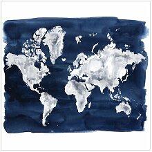 Matt Fototapete Wasser-Weltkarte Dunkel 3,36 m x