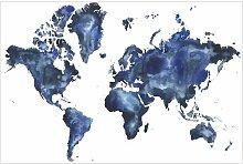 Matt Fototapete Wasser-Weltkarte Hell 2,25 m x 336