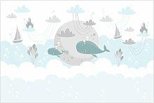 Matt Fototapete Wolken mit Wal und Schloss 1,9 m x