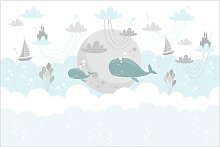 Matt Fototapete Wolken mit Wal und Schloss 2,25 m