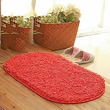 Matte, 45 * 70CM Badezimmermatte, Badezimmermatte, Matratze, Küchematte, rutschfeste saugfähige Auflage, chenille ovale Matte ( farbe : I )