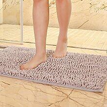 Matte, Fußmatte, (Schlafzimmer, Bad, Badezimmer, Anti-Skid, Wasseraufnahme), 33x50 cm, Silbergrau
