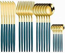 Matte Gold Besteck Set 24 stücke Gabeln Messer