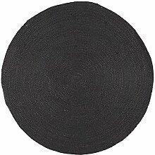Matte rund schwarz Jute Farbe Schwarz