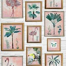 Matte Tapete Tropical Frame Floral 10 m x 52 cm