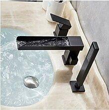 Mattschwarzer Wasserfall-Badewannenarmatur