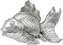 Maturi Dekofigur Fisch Silber Gold 25,5 cm breit