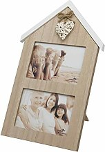 Maturi Doppel-Bilderrahmen in Herzform, Holz, 10 x