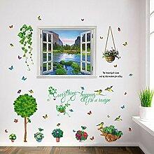 mauer - dekoration, kinderzimmer, wohnzimmer mit sofa im hintergrund wandsticker - schaufenster - dekoration wandsticker diy - glas,kombination