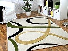 Maui Designer Teppich Creme Grün Loops in 5