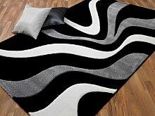 Maui Designer Teppich Modern Schwarz Grau Wellen