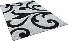 Maui Designer Teppich Modern Schwarz Ranken in 4