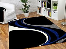 Maui Designer Teppich Schwarz Blau Style