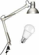 Maul Schreibtischlampe MAULstudy, Design Klemmleuchte Metall, Exklusive Leuchtmittel, Silber, 8230595, 1 Stück (silber + LED)