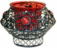 Maurisch-marokkanischer Teelichthalter, rot/violett, wunderschöne Geschenkidee, einzeln, metall, rot, 7cm x 10cm