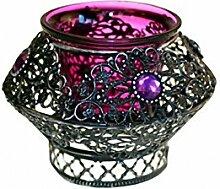 Maurisch-marokkanischer Teelichthalter, rot/violett, wunderschöne Geschenkidee, einzeln, metall, Violett, 7cm x 10cm