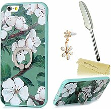 Mavis's Diary Case für iPhone 6 6s(4,7 Zoll) Hülle Ewha TPU Softcase und Standfunktion Ring Protective Dekoration Handycase Schutzhülle Back Cover Rück Scratch Telefon-Kasten Handyhülle Handycover Fall Euit Bumper