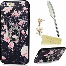 Mavis's Diary Case für iPhone 6 6s(4,7 Zoll) Hülle Fuso TPU Softcase und Standfunktion Ring Protective Dekoration Handycase Schutzhülle Back Cover Rück Scratch Telefon-Kasten Handyhülle Handycover Fall Euit Bumper