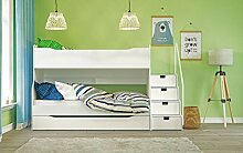 Max 4 Etagenbett mit Schubkastentreppe in Weiß