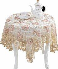 Max Home@ Gestickte Tischdecke runden Tisch im europäischen Stil Garten Spitzenstoff Hohl Platzdeckchen Tischfahne Tischdecken Couchtisch Stuhl ( größe : 110*110cm )