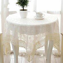 Max Home@ Gestickte Tischdecke runden Tisch im europäischen Stil Garten Spitzenstoff Hohl Platzdeckchen Tischfahne Tischdecken Couchtisch Stuhl ( größe : 60*60cm )