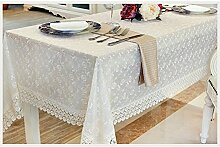 Max Home@ Gestickte Tischdecke runden Tisch im europäischen Stil Garten Spitzenstoff Hohl Platzdeckchen Tischfahne Tischdecken Couchtisch Stuhl ( größe : 60*120cm )