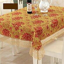 Max Home@ Gestickte Tischdecke runden Tisch im europäischen Stil Garten Spitzenstoff Hohl Platzdeckchen Tischfahne Tischdecken Couchtisch Stuhl ( größe : 150*210cm )